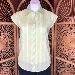 PATAGONIA Button Up Striped Short Sleeve Top Sz 4